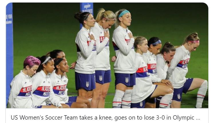 Dinesh D'Souza tweet womens Olympic team kneels loses