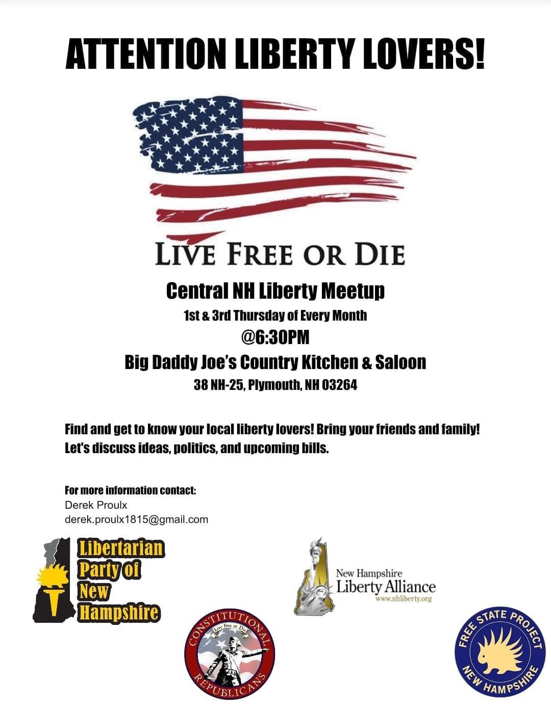 Central NH Liberty Meet Up @ Big Daddy Joe's Country Kitchen and Saloon