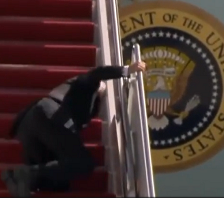 Biden falling up the stairs to Air Force One Youtube screenshot