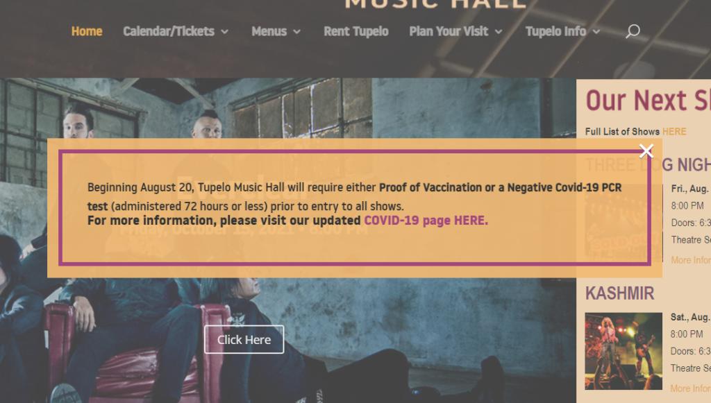 Tupelo Music Hall Jab Demand Home page