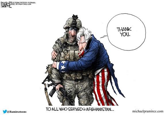 Uncle Sam thanking Afganistan Vets I and I Michael Ramirez mrz082221_color Lucianne.com