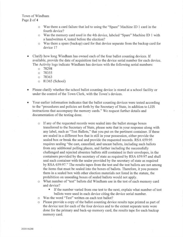09.01.2021 Pg 2 Letter to Town of Windham Follow-up Questions - from State-