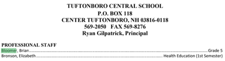 Brian Bloomer Tuftonboro Central School 5th grade teacher