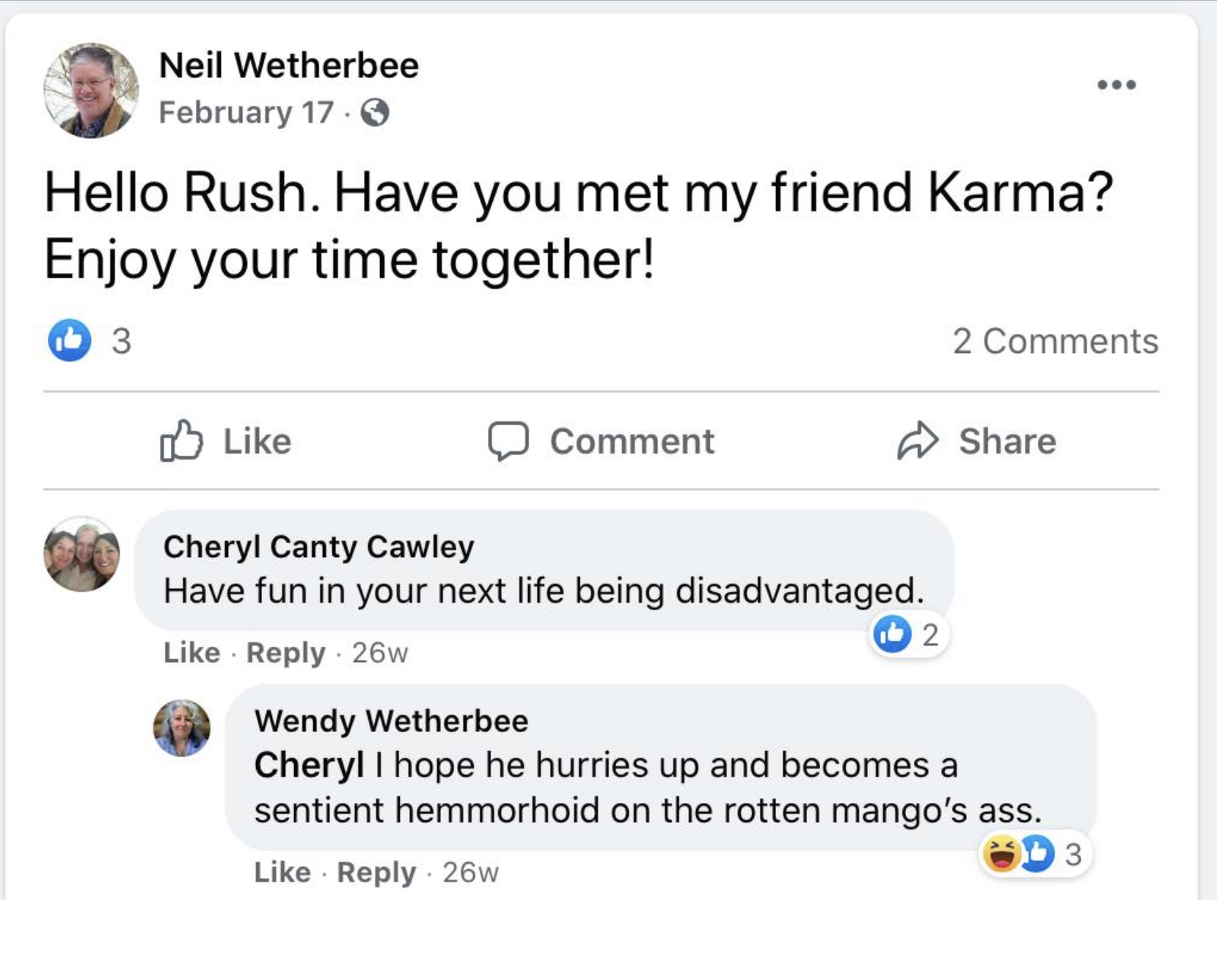 Neil Wetherbee Glad Rush Limbaugh is dead