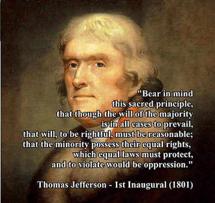 THomas Jefferson 1st Inaugural Minority possess equal rights