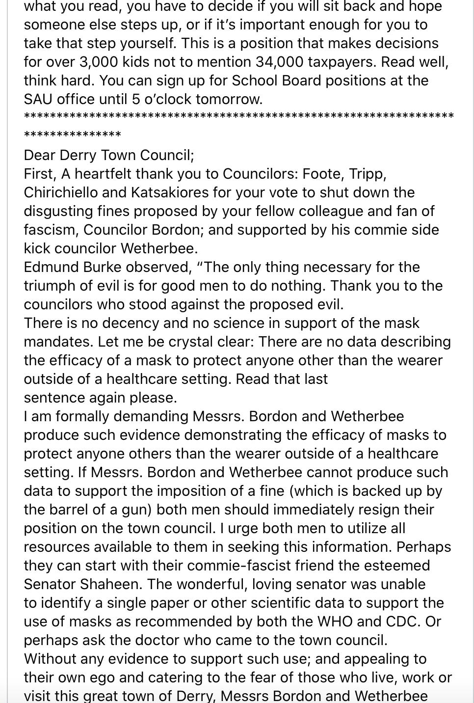 wetherbee mask mandate two