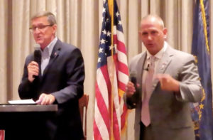 Generals Flynn and Bolduc on stage for the dinner event Oct 6th 2021