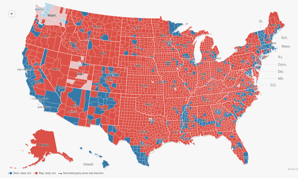 Red vs Blue by Counties