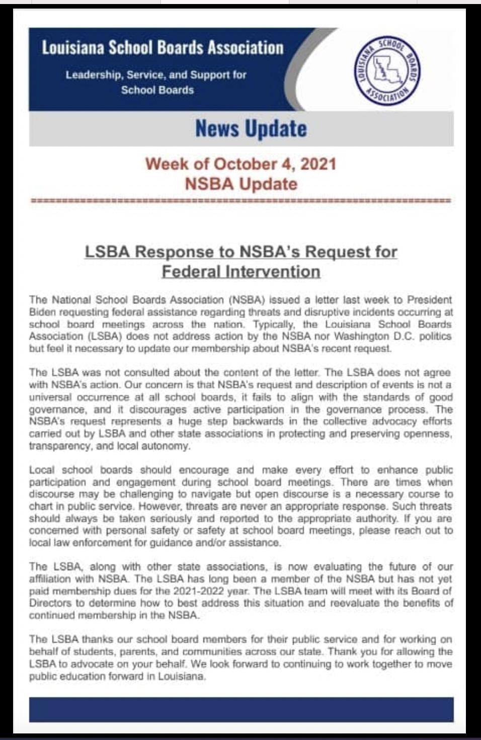 Louisiana School Boards Association news update